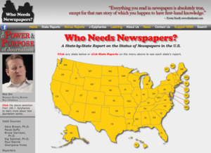 Who Needs Newspapers Website Home Page